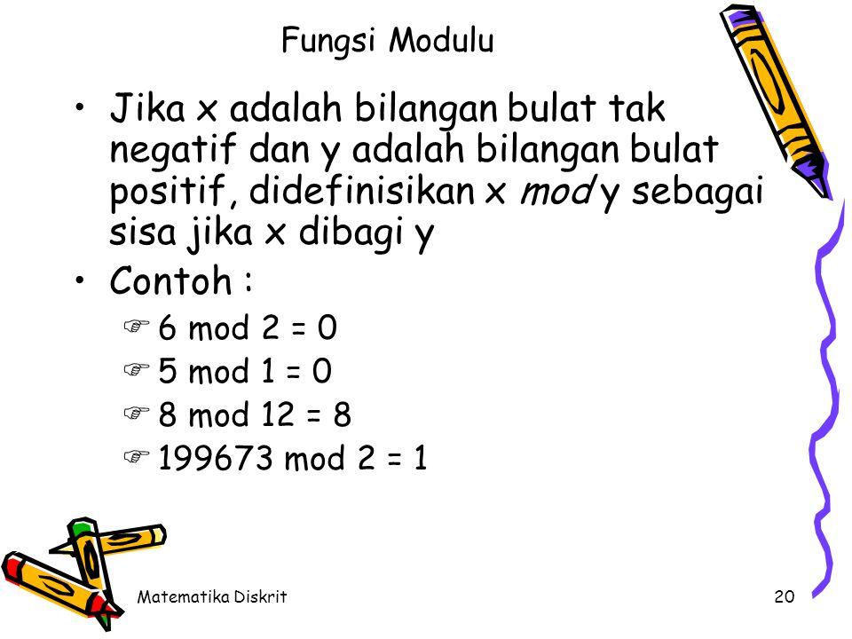 Matematika Diskrit20 Fungsi Modulu Jika x adalah bilangan bulat tak negatif dan y adalah bilangan bulat positif, didefinisikan x mod y sebagai sisa jika x dibagi y Contoh :  6 mod 2 = 0  5 mod 1 = 0  8 mod 12 = 8  199673 mod 2 = 1