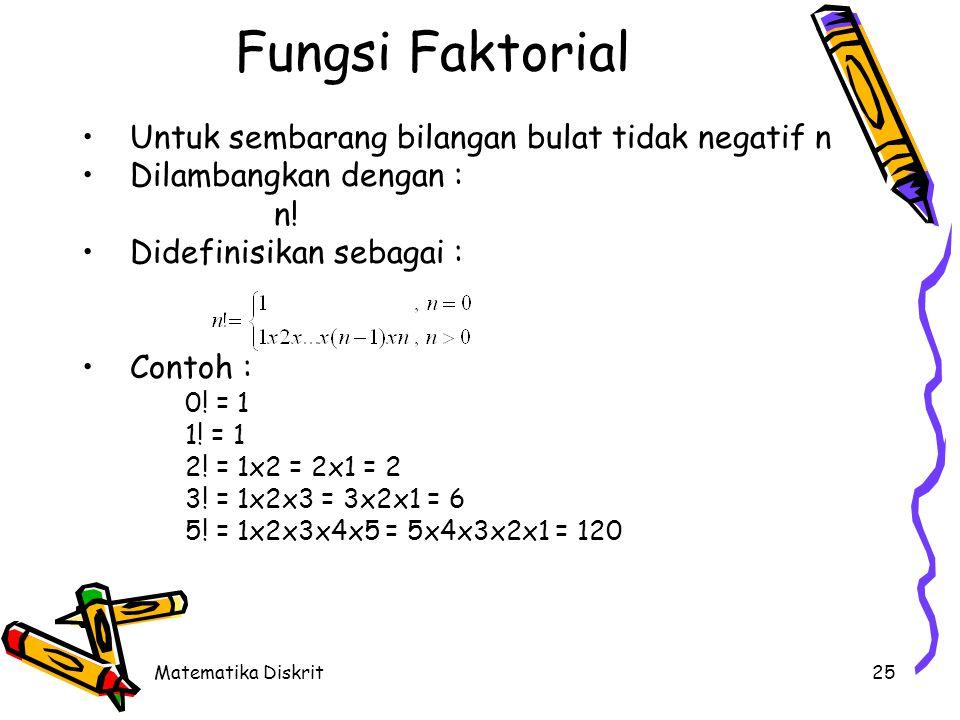 Matematika Diskrit25 Fungsi Faktorial Untuk sembarang bilangan bulat tidak negatif n Dilambangkan dengan : n! Didefinisikan sebagai : Contoh : 0! = 1