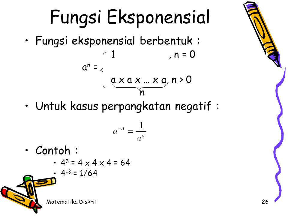 Matematika Diskrit26 Fungsi Eksponensial Fungsi eksponensial berbentuk : 1, n = 0 a n = a x a x … x a, n > 0 n Untuk kasus perpangkatan negatif : Cont