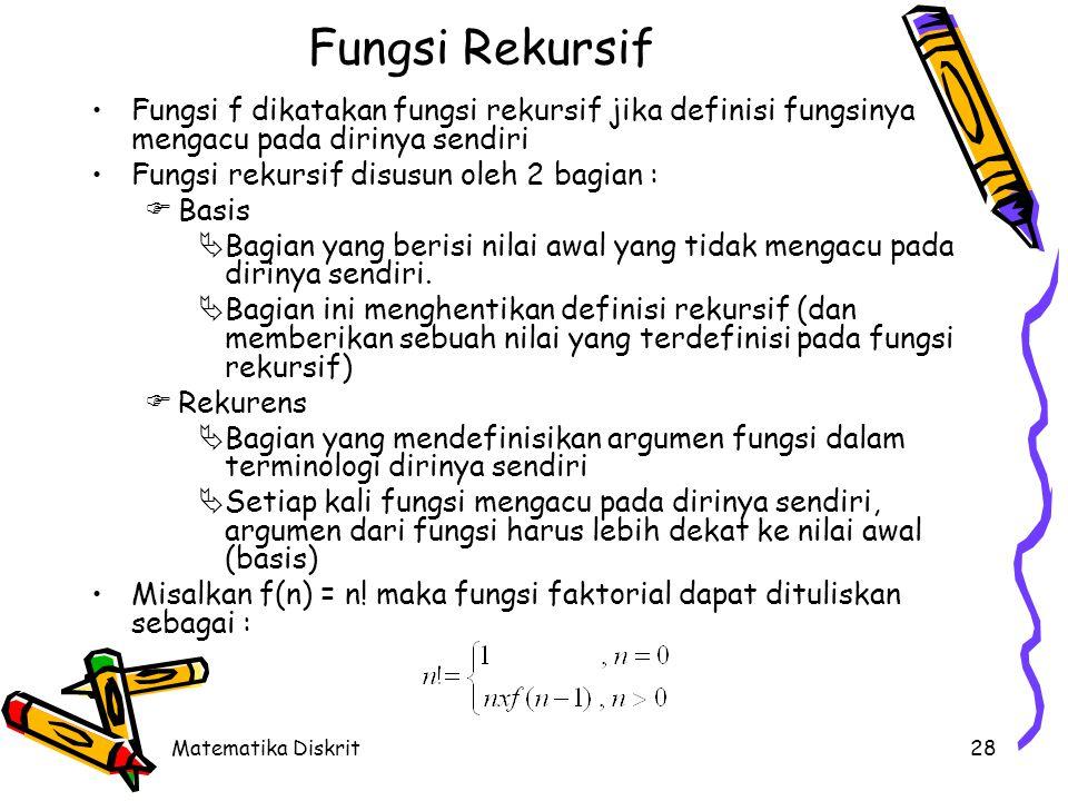 Matematika Diskrit28 Fungsi Rekursif Fungsi f dikatakan fungsi rekursif jika definisi fungsinya mengacu pada dirinya sendiri Fungsi rekursif disusun oleh 2 bagian :  Basis  Bagian yang berisi nilai awal yang tidak mengacu pada dirinya sendiri.