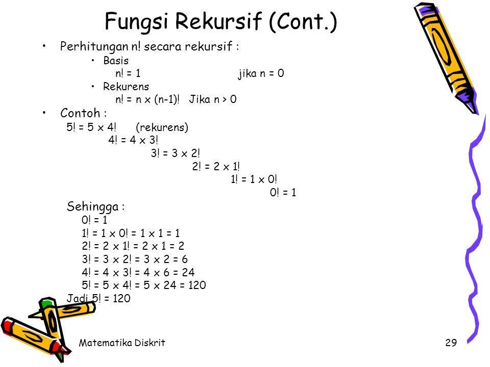 Matematika Diskrit29 Fungsi Rekursif (Cont.) Perhitungan n! secara rekursif : Basis n! = 1jika n = 0 Rekurens n! = n x (n-1)!Jika n > 0 Contoh : 5! =