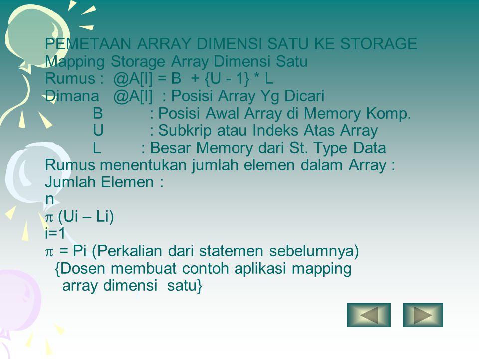 PEMETAAN ARRAY DIMENSI SATU KE STORAGE Mapping Storage Array Dimensi Satu Rumus : @A[I] = B + {U - 1} * L Dimana @A[I] : Posisi Array Yg Dicari B : Po