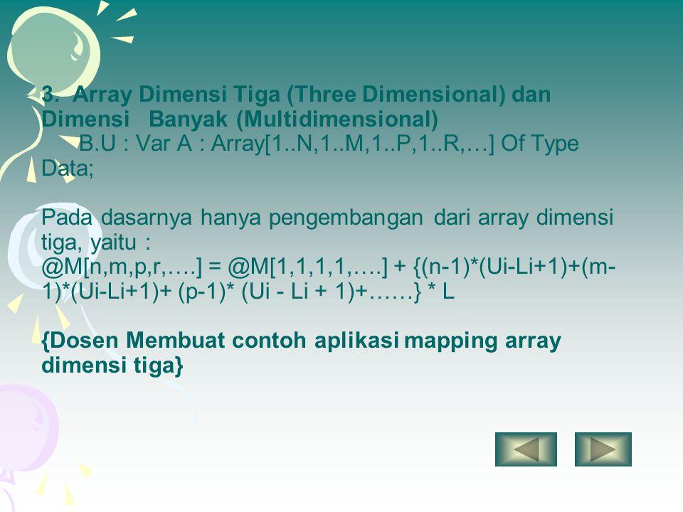 3. Array Dimensi Tiga (Three Dimensional) dan Dimensi Banyak (Multidimensional) B.U : Var A : Array[1..N,1..M,1..P,1..R,…] Of Type Data; Pada dasarnya