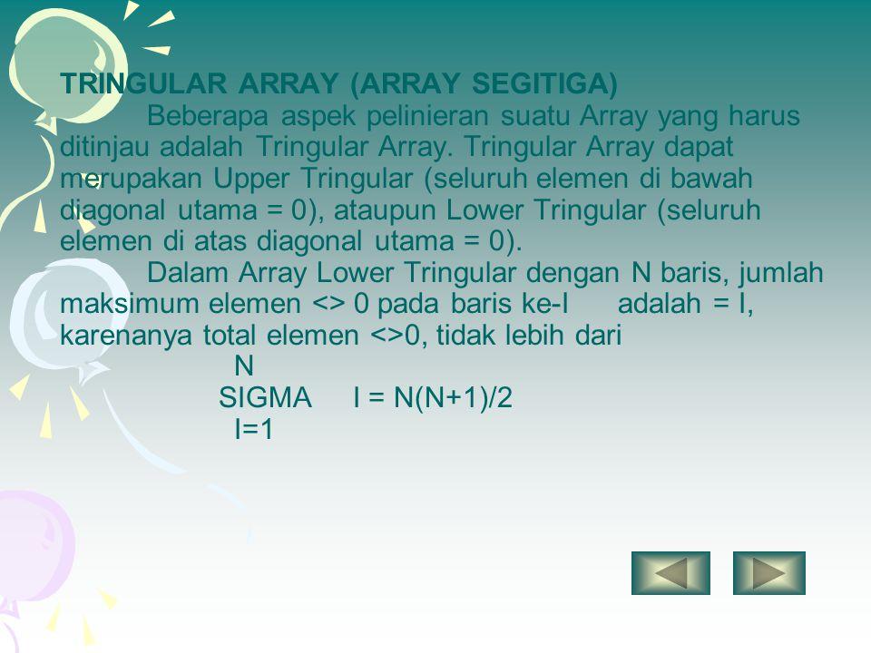 TRINGULAR ARRAY (ARRAY SEGITIGA) Beberapa aspek pelinieran suatu Array yang harus ditinjau adalah Tringular Array. Tringular Array dapat merupakan Upp