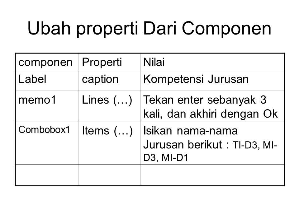 Ubah properti Dari Componen componenPropertiNilai LabelcaptionKompetensi Jurusan memo1Lines (…)Tekan enter sebanyak 3 kali, dan akhiri dengan Ok Combobox1 Items (…)Isikan nama-nama Jurusan berikut : TI-D3, MI- D3, MI-D1