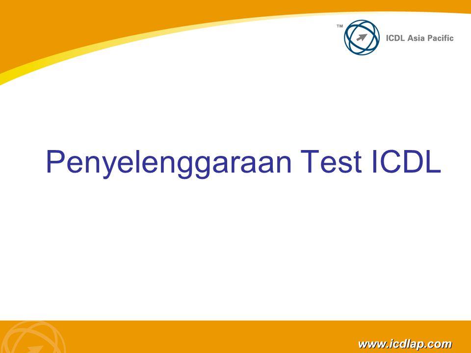 Memulai ujian Lima (5) menit sebelum pelaksanaan test, ATC harus memberikan penjelasan sebagai berikut: Berapa lama ujian akan dilaksanakan Lama ujian untuk masing masing Modul ICDL Ketersediaan demo test sebelum pelaksanaan Tidak boleh ada perbincangan antar peserta ujian Invigilator Invigilator Harus memasukkan namanya kedalam test system ICDL, agar supaya test yang dilakukan memenuhi syarat.