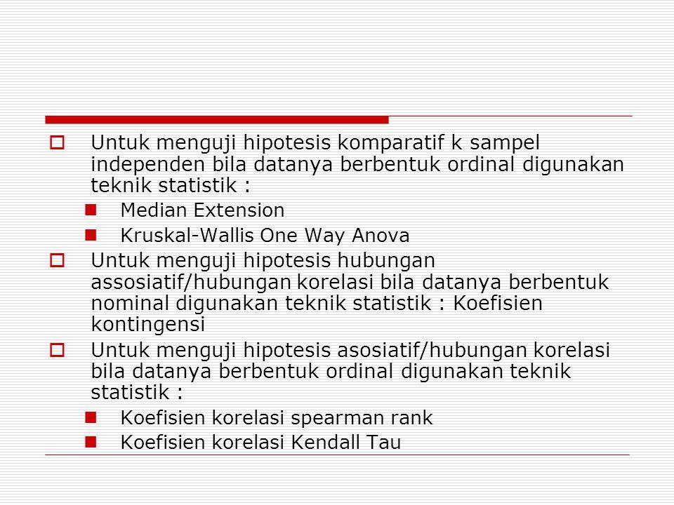  Untuk menguji hipotesis komparatif k sampel independen bila datanya berbentuk ordinal digunakan teknik statistik : Median Extension Kruskal-Wallis One Way Anova  Untuk menguji hipotesis hubungan assosiatif/hubungan korelasi bila datanya berbentuk nominal digunakan teknik statistik : Koefisien kontingensi  Untuk menguji hipotesis asosiatif/hubungan korelasi bila datanya berbentuk ordinal digunakan teknik statistik : Koefisien korelasi spearman rank Koefisien korelasi Kendall Tau