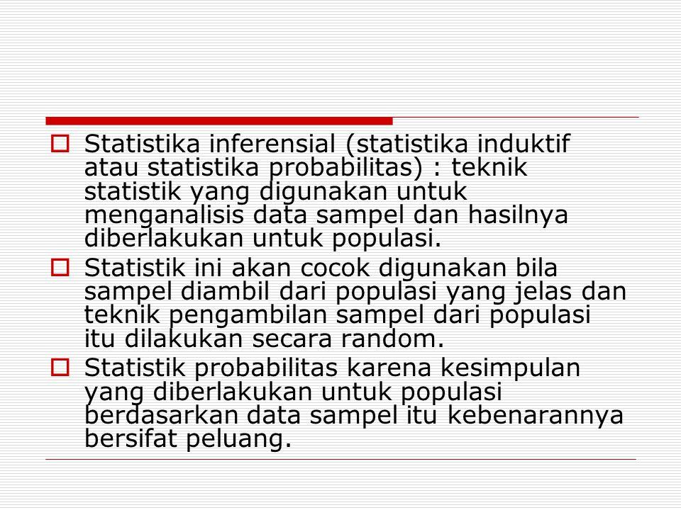  Statistika inferensial (statistika induktif atau statistika probabilitas) : teknik statistik yang digunakan untuk menganalisis data sampel dan hasilnya diberlakukan untuk populasi.