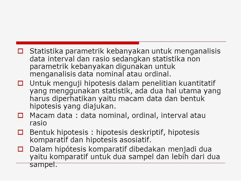  Statistika parametrik kebanyakan untuk menganalisis data interval dan rasio sedangkan statistika non parametrik kebanyakan digunakan untuk menganalisis data nominal atau ordinal.