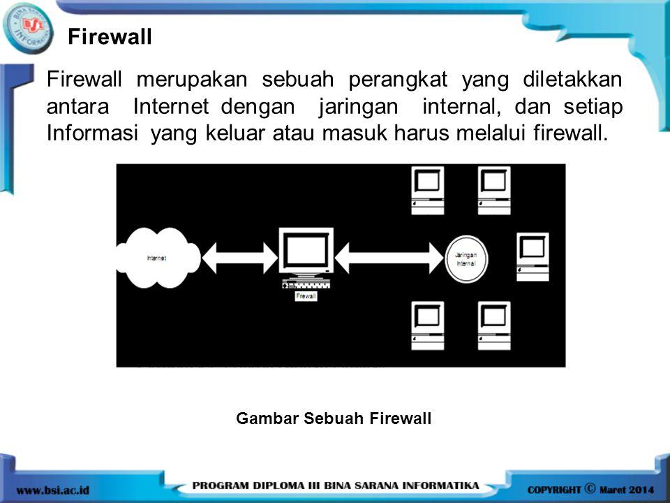 Firewall Firewall merupakan sebuah perangkat yang diletakkan antara Internet dengan jaringan internal, dan setiap Informasi yang keluar atau masuk har