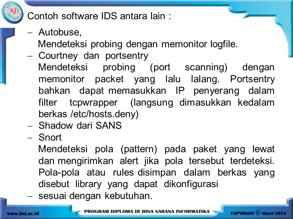 Contoh software IDS antara lain :  Autobuse, Mendeteksi probing dengan memonitor logfile.  Courtney dan portsentry Mendeteksi probing (port scanning