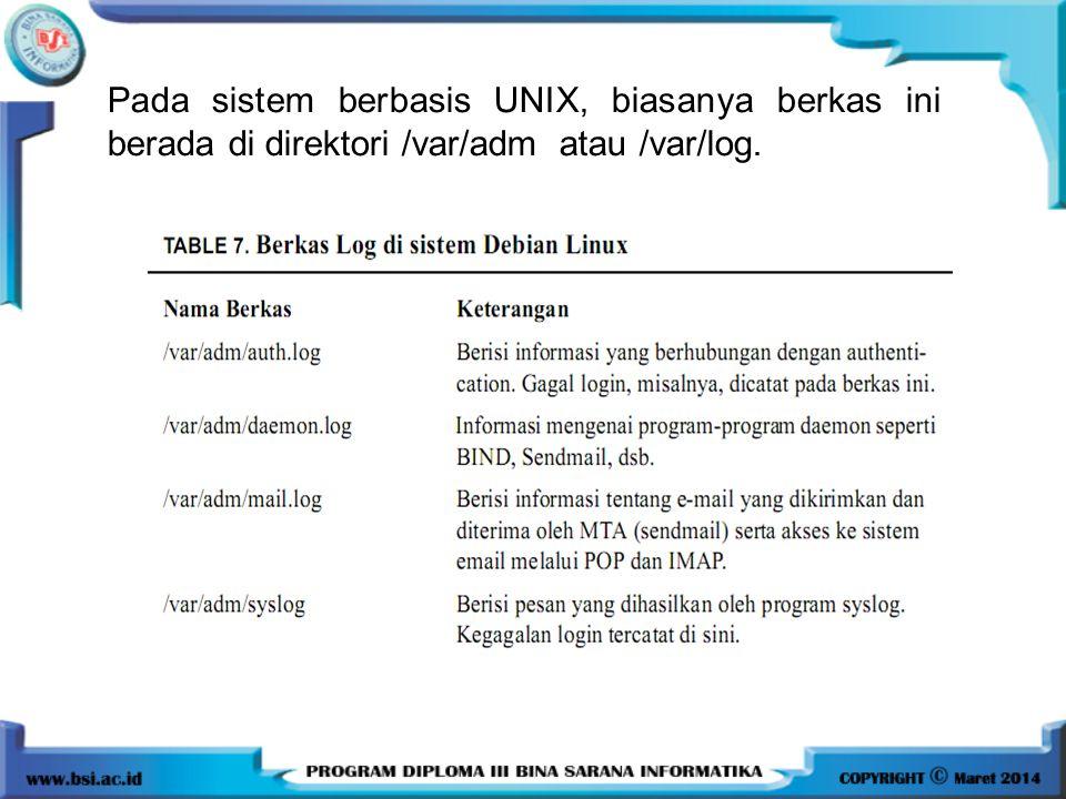Pada sistem berbasis UNIX, biasanya berkas ini berada di direktori /var/adm atau /var/log.