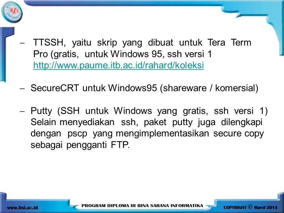  TTSSH, yaitu skrip yang dibuat untuk Tera Term Pro (gratis, untuk Windows 95, ssh versi 1 http://www.paume.itb.ac.id/rahard/koleksi  SecureCRT untu