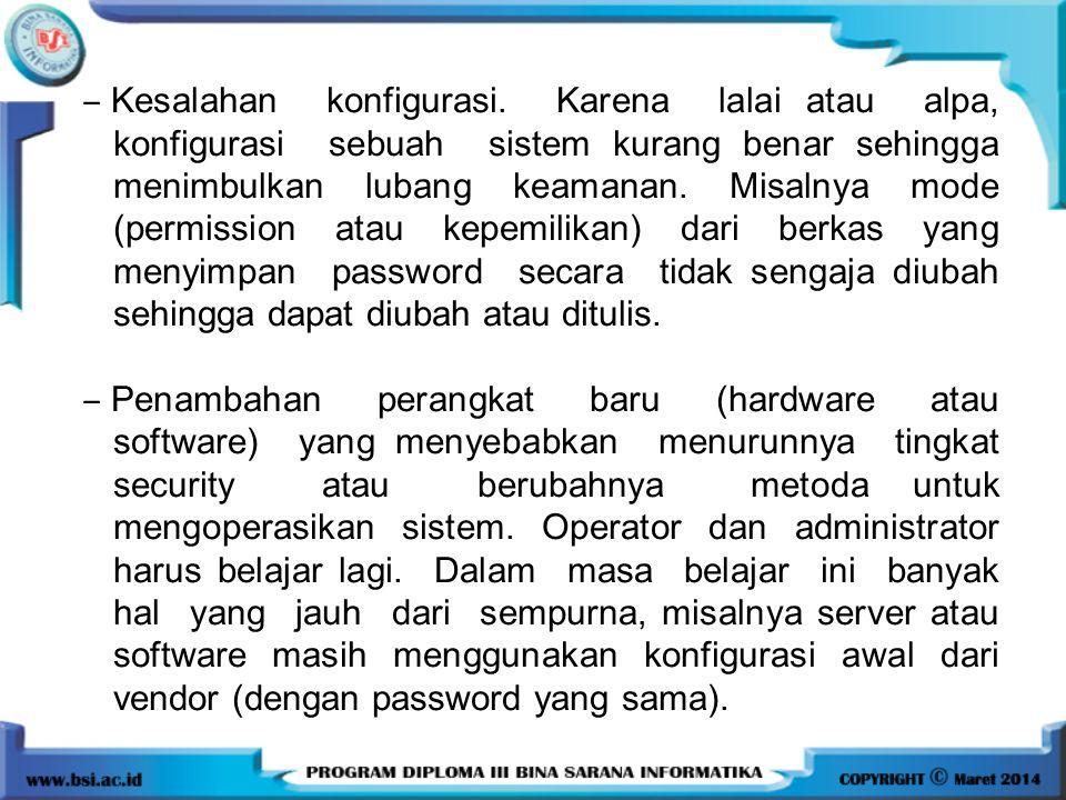 ‒ Kesalahan konfigurasi. Karena lalai atau alpa, konfigurasi sebuah sistem kurang benar sehingga menimbulkan lubang keamanan. Misalnya mode (permissio