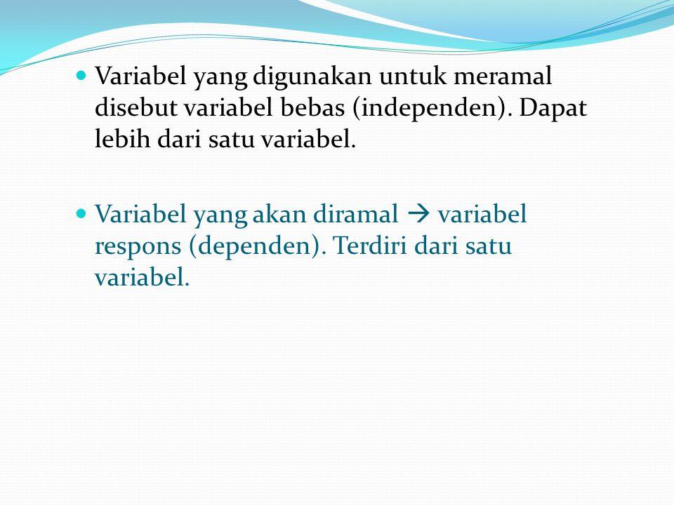 Variabel yang digunakan untuk meramal disebut variabel bebas (independen).