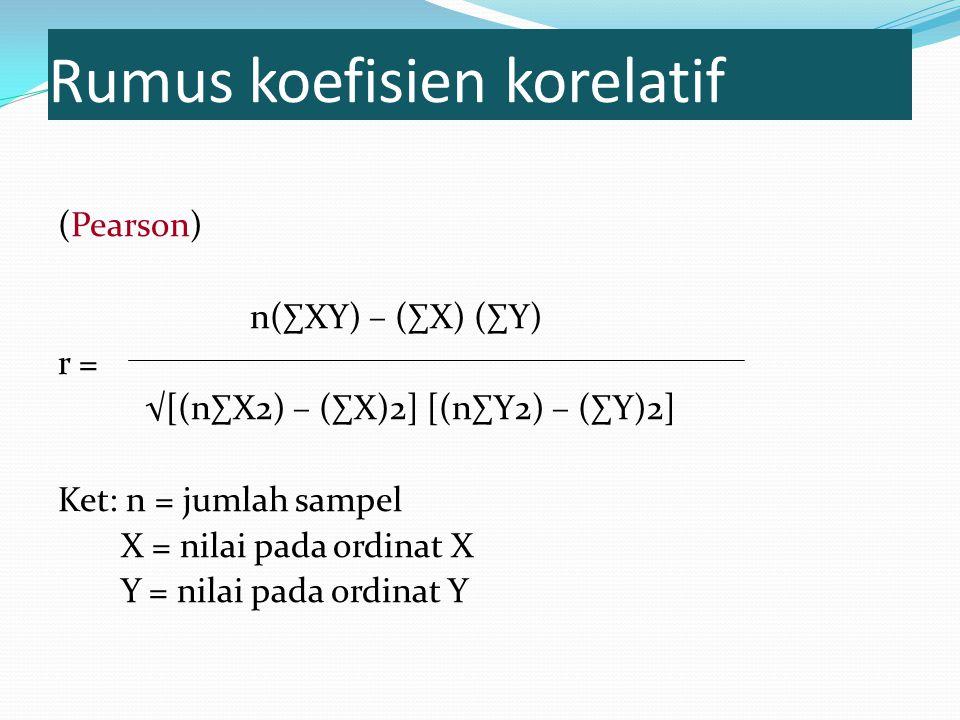Rumus koefisien korelatif (Pearson) n(∑XY) – (∑X) (∑Y) r = √[(n∑X2) – (∑X)2] [(n∑Y2) – (∑Y)2] Ket: n = jumlah sampel X = nilai pada ordinat X Y = nilai pada ordinat Y