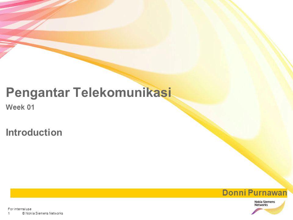 2© Nokia Siemens Networks For internal use Basic of Telecomunication Amplitudo Simpangan terjauh dalam satu pancaran gelombang Gelombang suara adalah salah satu bentuk gelombang yang terbentuk didalam tekanan udara dan amplitudonya berbanding secara proporsional dengan perubahan tekanan udara terhadap satu siklus gelombang Gelombang berbentuk sinusoidal – 1.
