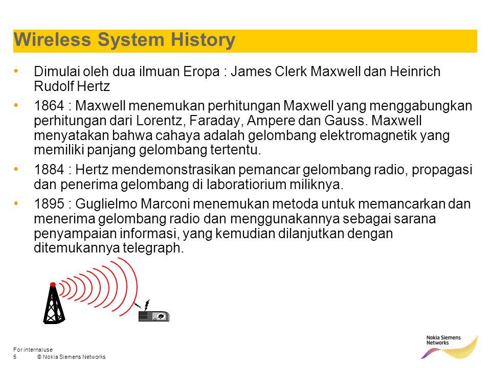 6© Nokia Siemens Networks For internal use Wireless System History Penggunaan sytem komunikasi wireless semakin meluas dengan digunakannya gelombang radio sebagai sarana telekomunikasi semasa perang dunia pertama dan kedua.