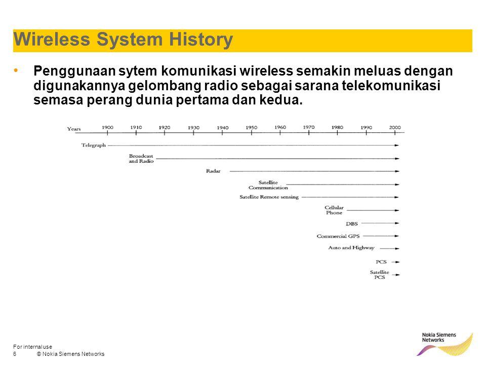 6© Nokia Siemens Networks For internal use Wireless System History Penggunaan sytem komunikasi wireless semakin meluas dengan digunakannya gelombang r