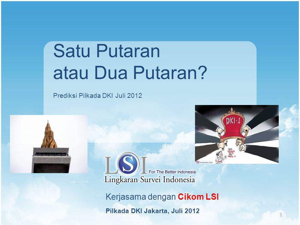 Kerjasama dengan Cikom LSI Pilkada DKI Jakarta, Juli 2012 1 Satu Putaran atau Dua Putaran.
