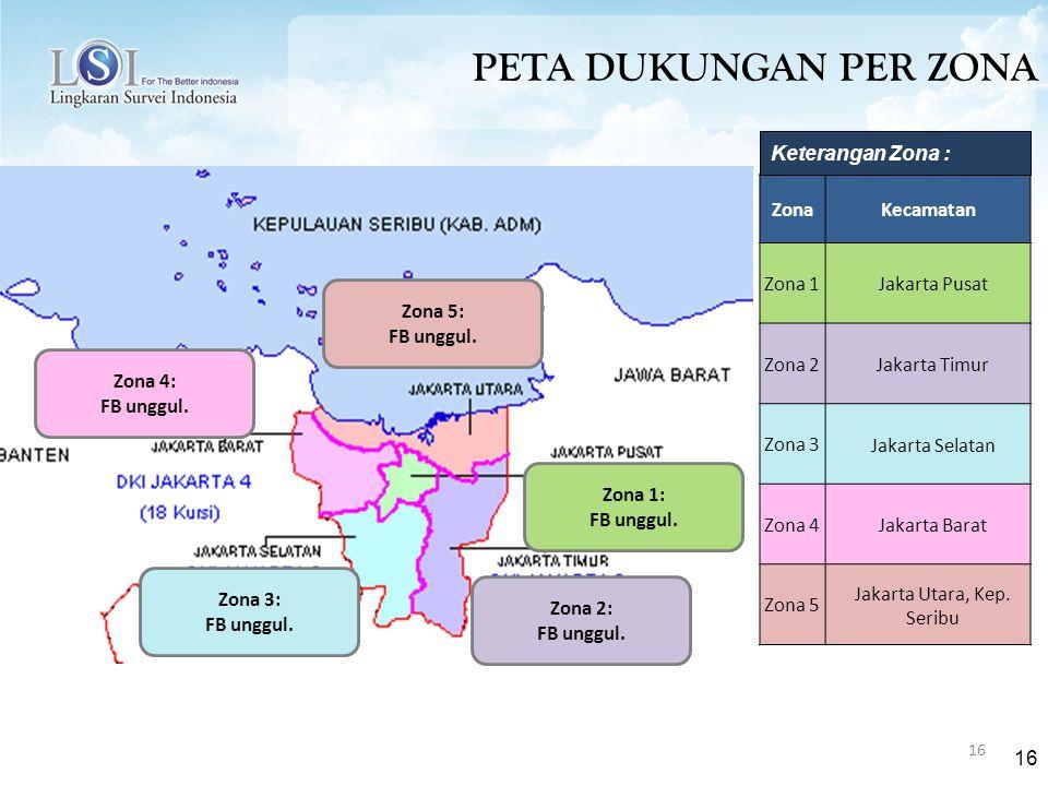 16 PETA DUKUNGAN PER ZONA ZonaKecamatan Zona 1 Jakarta Pusat Zona 2 Jakarta Timur Zona 3 Jakarta Selatan Zona 4 Jakarta Barat Zona 5 Jakarta Utara, Kep.