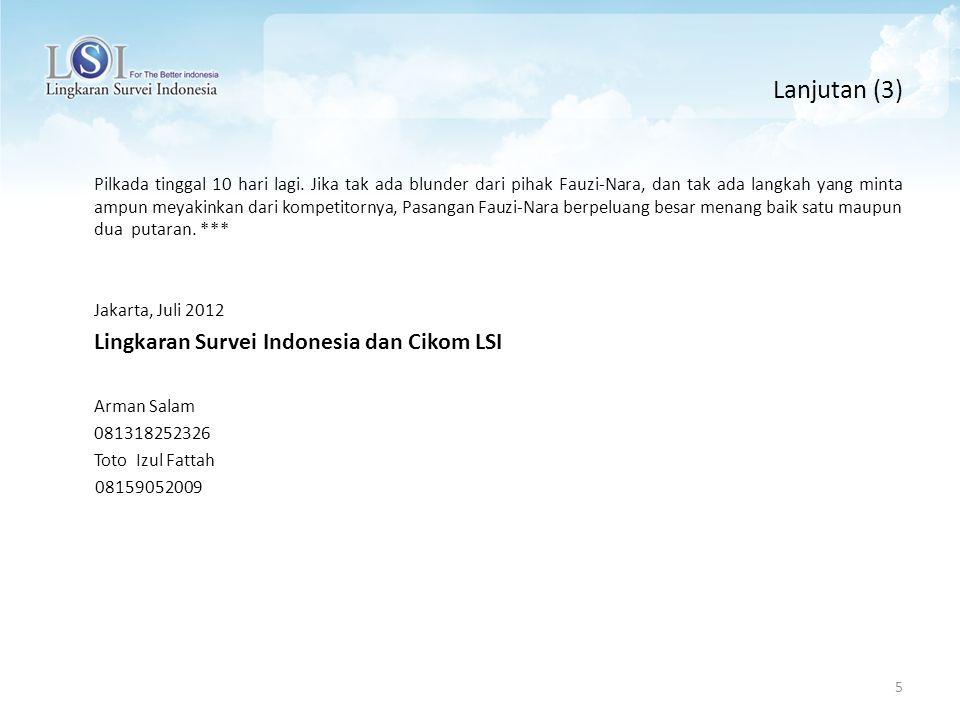 REKOR MURI Survei Paling Akurat dan Presisi 6 Rekor MURI ( Museum Rekor Indonesia) Prediksi Paling Akurat Dalam satu bulan, lima prediksi survei LSI di muat di Koran Tempo 8, 9, 15, 19, 27 Maret 2006.