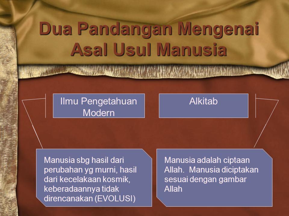Dua Pandangan Mengenai Asal Usul Manusia AlkitabIlmu Pengetahuan Modern Manusia sbg hasil dari perubahan yg murni, hasil dari kecelakaan kosmik, keber