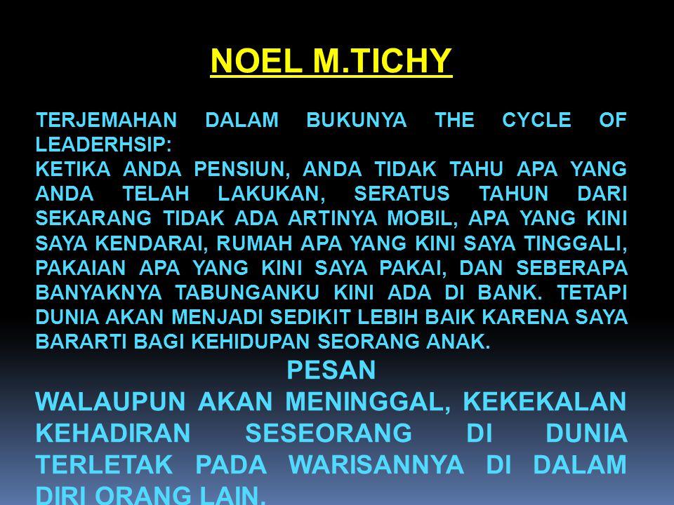 NOEL M.TICHY TERJEMAHAN DALAM BUKUNYA THE CYCLE OF LEADERHSIP: KETIKA ANDA PENSIUN, ANDA TIDAK TAHU APA YANG ANDA TELAH LAKUKAN, SERATUS TAHUN DARI SE