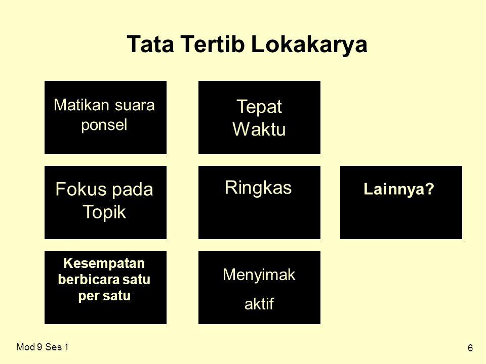6 Tata Tertib Lokakarya Matikan suara ponsel Tepat Waktu Fokus pada Topik Ringkas Kesempatan berbicara satu per satu Menyimak aktif Lainnya.