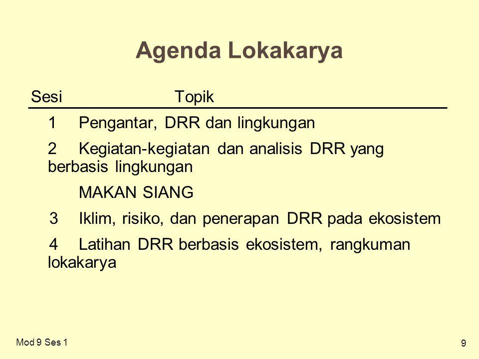9 Agenda Lokakarya SesiTopik 1Pengantar, DRR dan lingkungan 2Kegiatan-kegiatan dan analisis DRR yang berbasis lingkungan MAKAN SIANG 3Iklim, risiko, dan penerapan DRR pada ekosistem 4Latihan DRR berbasis ekosistem, rangkuman lokakarya Mod 9 Ses 1