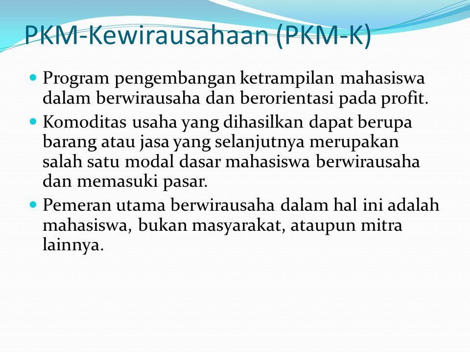 PKM-Kewirausahaan (PKM-K) Program pengembangan ketrampilan mahasiswa dalam berwirausaha dan berorientasi pada profit. Komoditas usaha yang dihasilkan