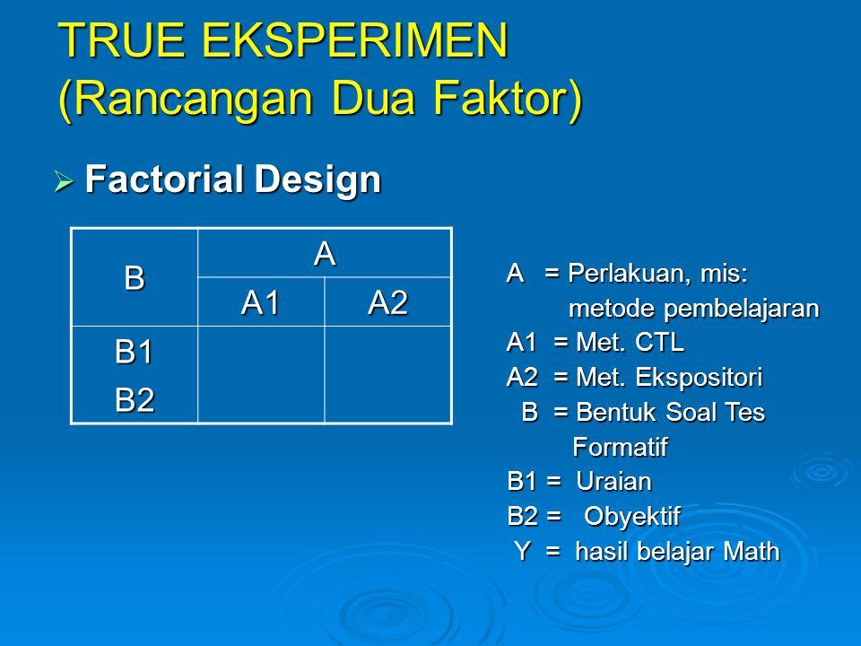 TRUE EKSPERIMEN (Rancangan Dua Faktor)  Factorial Design B A A1A2 B1B2 A = Perlakuan, mis: metode pembelajaran metode pembelajaran A1 = Met. CTL A2 =
