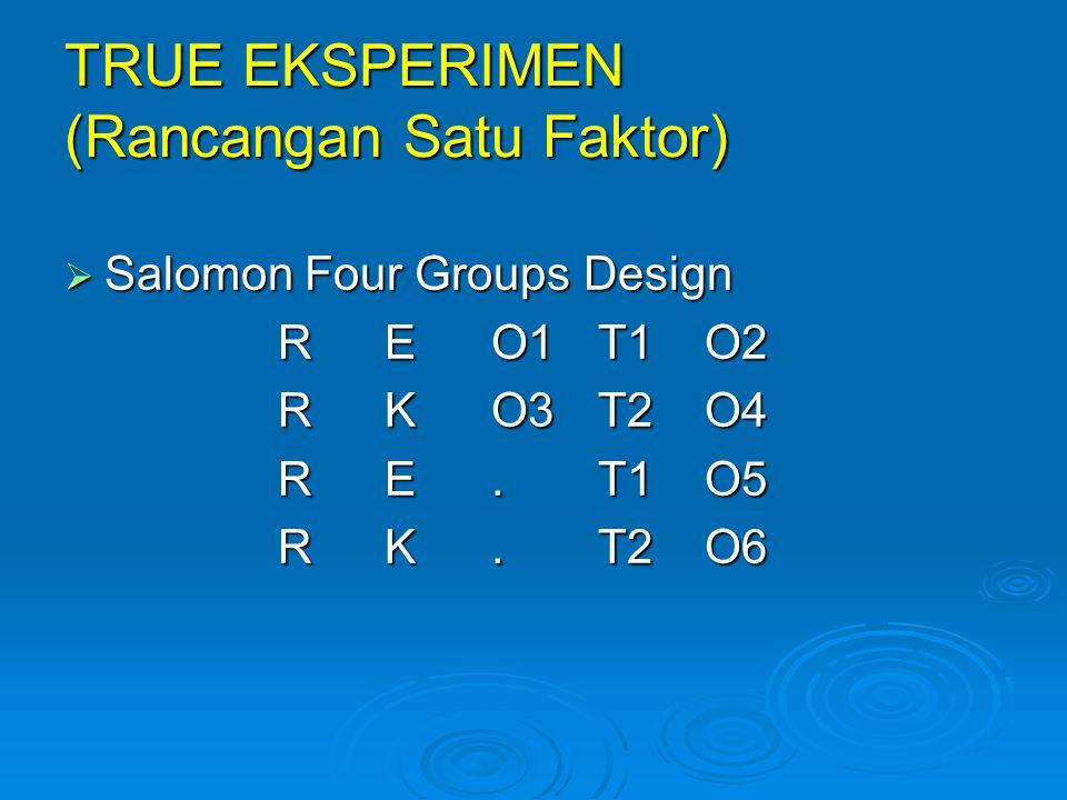  Salomon Four Groups Design REO1T1O2 RKO3T2O4 RE.T1O5 RK. T2O6 TRUE EKSPERIMEN (Rancangan Satu Faktor)