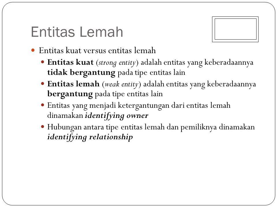 Entitas Lemah Entitas kuat versus entitas lemah Entitas kuat (strong entity) adalah entitas yang keberadaannya tidak bergantung pada tipe entitas lain