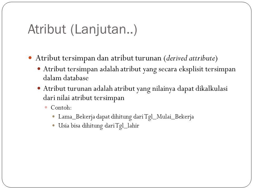 Atribut (Lanjutan..) Atribut tersimpan dan atribut turunan (derived attribute) Atribut tersimpan adalah atribut yang secara eksplisit tersimpan dalam