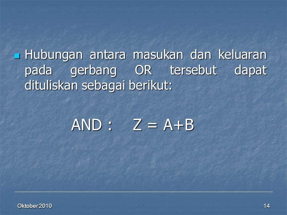 Oktober 2010 14 Hubungan antara masukan dan keluaran pada gerbang OR tersebut dapat dituliskan sebagai berikut: Hubungan antara masukan dan keluaran p