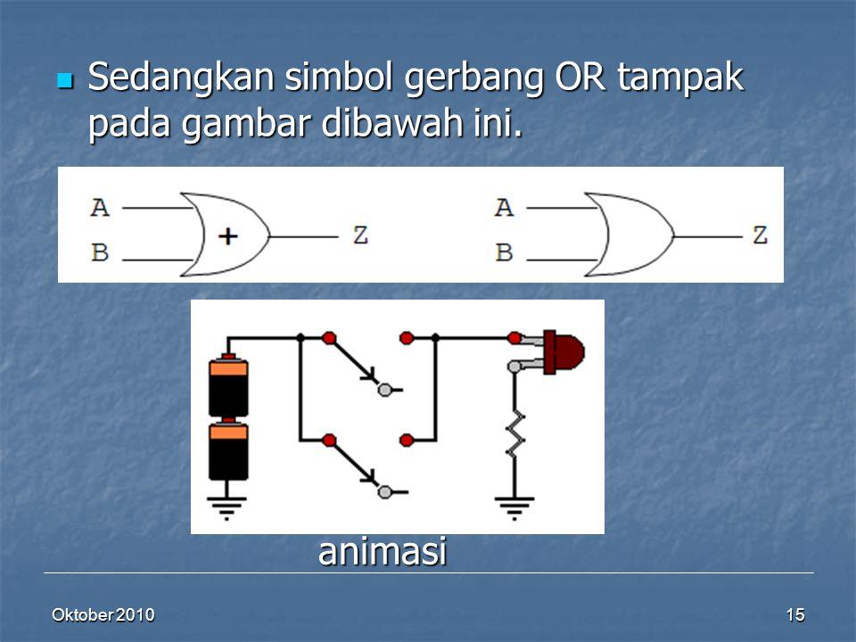 Oktober 2010 15 Sedangkan simbol gerbang OR tampak pada gambar dibawah ini. Sedangkan simbol gerbang OR tampak pada gambar dibawah ini. animasi
