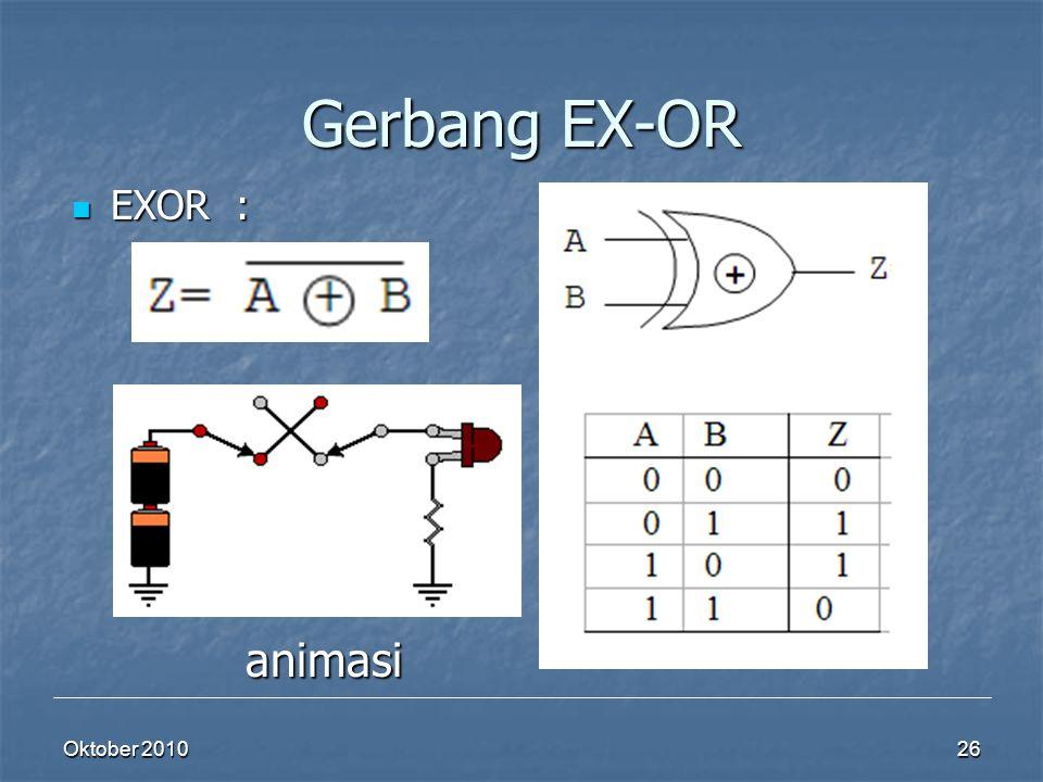 Oktober 2010 26 Gerbang EX-OR EXOR : EXOR : animasi