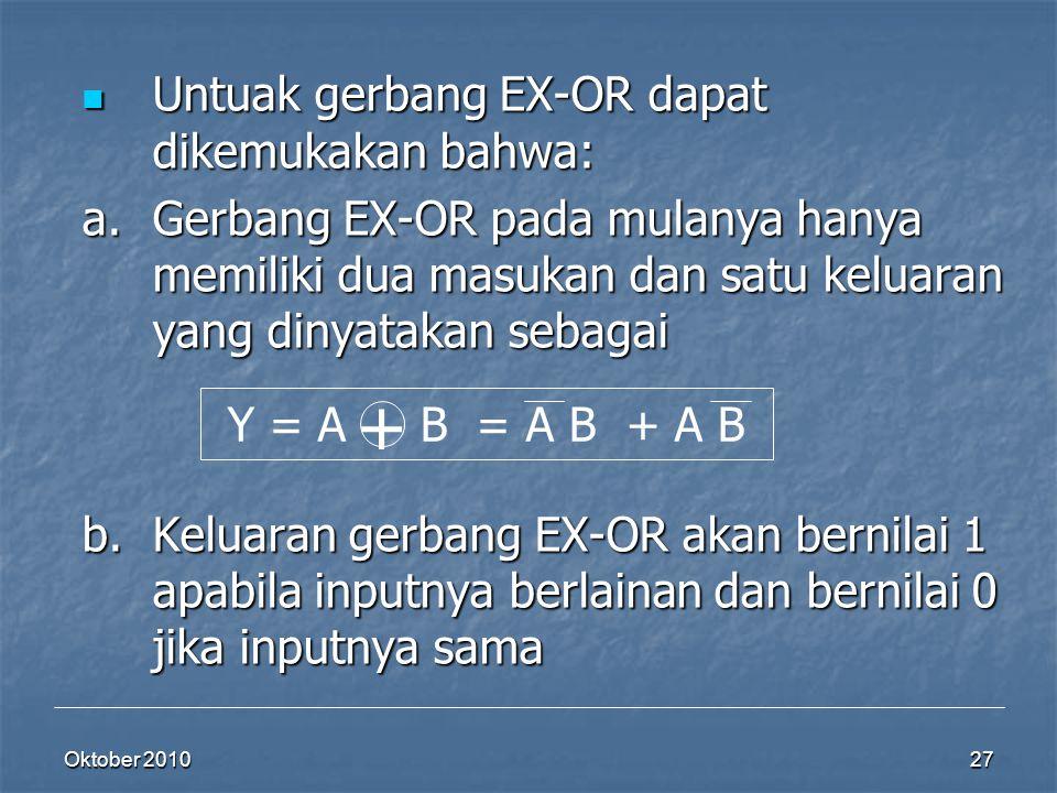 Oktober 2010 27 Untuak gerbang EX-OR dapat dikemukakan bahwa: Untuak gerbang EX-OR dapat dikemukakan bahwa: a.Gerbang EX-OR pada mulanya hanya memilik