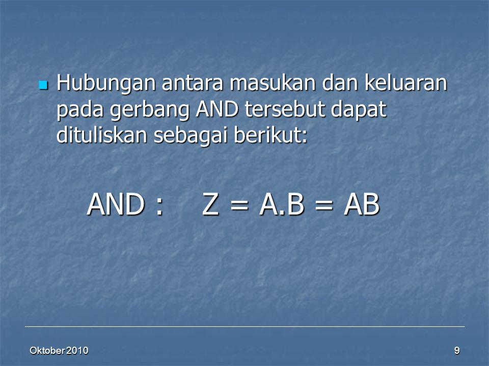 Oktober 2010 9 Hubungan antara masukan dan keluaran pada gerbang AND tersebut dapat dituliskan sebagai berikut: Hubungan antara masukan dan keluaran p