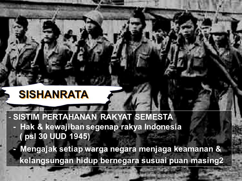 SISHANRATA -SISTIM PERTAHANAN RAKYAT SEMESTA - Hak & kewajiban segenap rakya Indonesia ( psl 30 UUD 1945) - Mengajak setiap warga negara menjaga keama