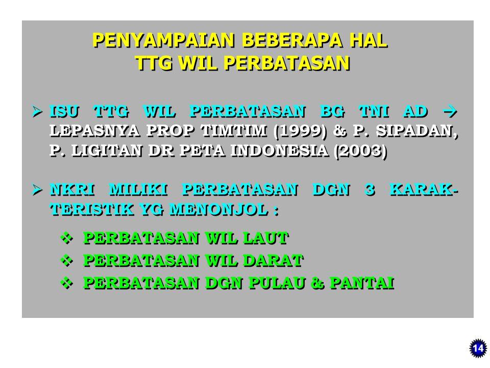 PENYAMPAIAN BEBERAPA HAL TTG WIL PERBATASAN PENYAMPAIAN BEBERAPA HAL TTG WIL PERBATASAN  ISU TTG WIL PERBATASAN BG TNI AD  LEPASNYA PROP TIMTIM (199