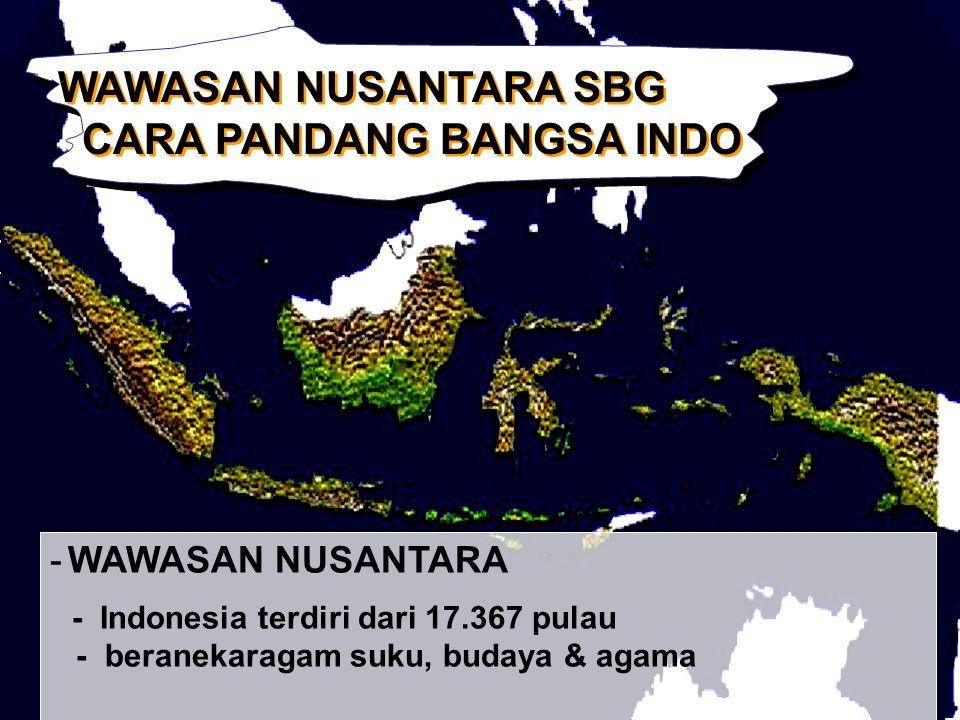 WAWASAN NUSANTARA SBG CARA PANDANG BANGSA INDO WAWASAN NUSANTARA SBG CARA PANDANG BANGSA INDO -WAWASAN NUSANTARA - Indonesia terdiri dari 17.367 pulau