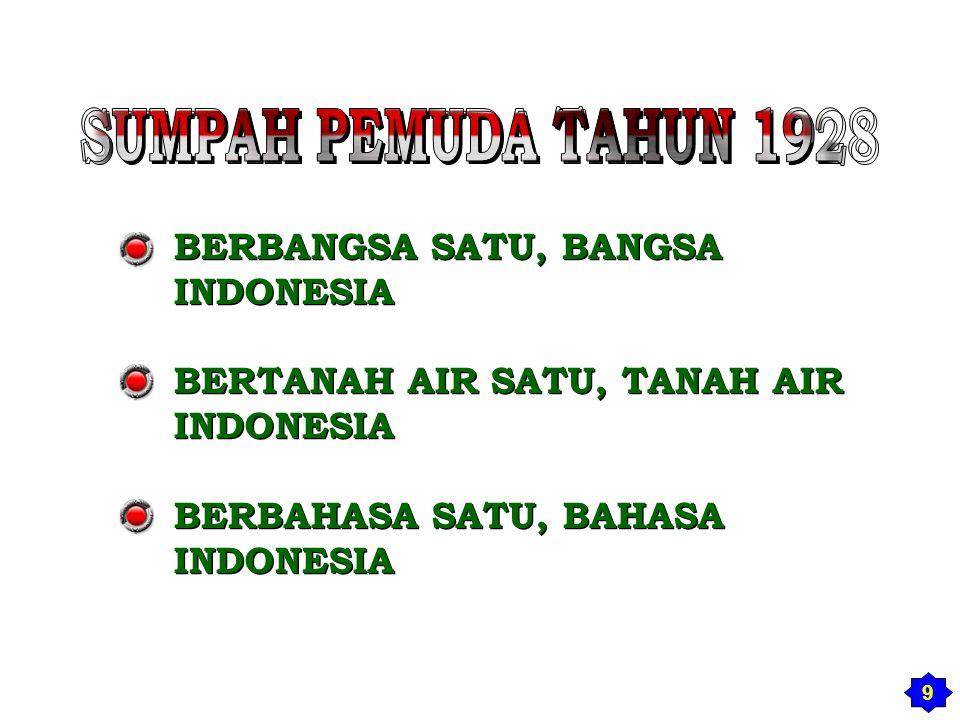 BERBANGSA SATU, BANGSA INDONESIA BERTANAH AIR SATU, TANAH AIR INDONESIA BERBAHASA SATU, BAHASA INDONESIA BERBANGSA SATU, BANGSA INDONESIA BERTANAH AIR