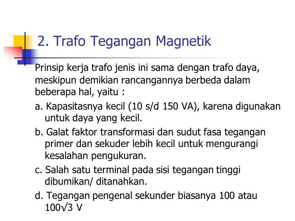 2. Trafo Tegangan Magnetik Prinsip kerja trafo jenis ini sama dengan trafo daya, meskipun demikian rancangannya berbeda dalam beberapa hal, yaitu : a.