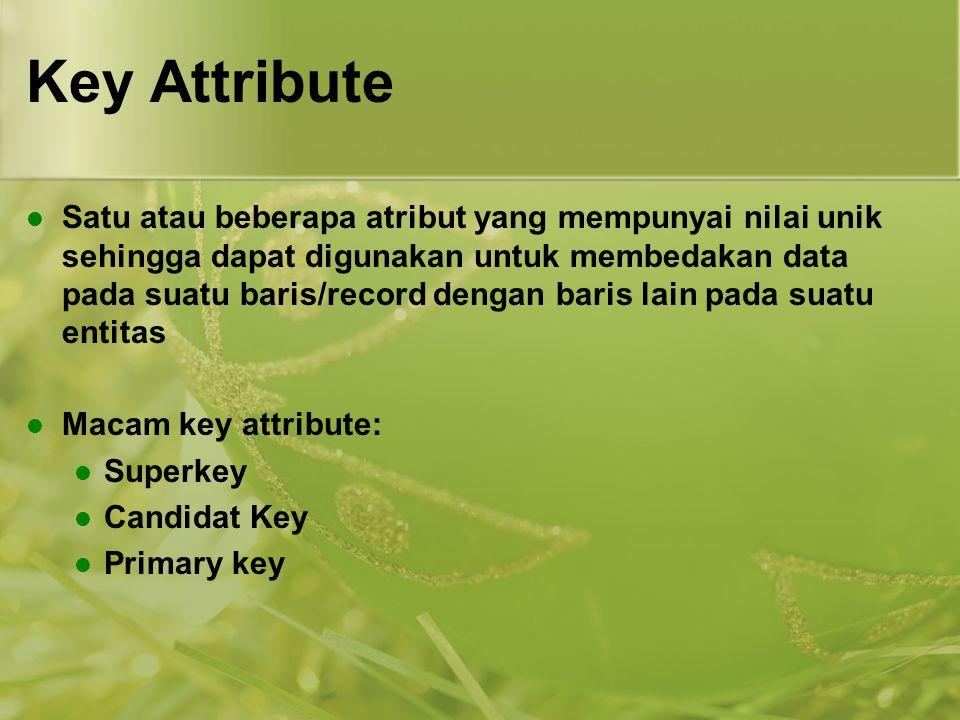 Key Attribute Satu atau beberapa atribut yang mempunyai nilai unik sehingga dapat digunakan untuk membedakan data pada suatu baris/record dengan baris