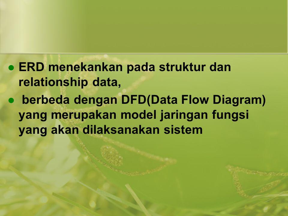 ERD menekankan pada struktur dan relationship data, berbeda dengan DFD(Data Flow Diagram) yang merupakan model jaringan fungsi yang akan dilaksanakan