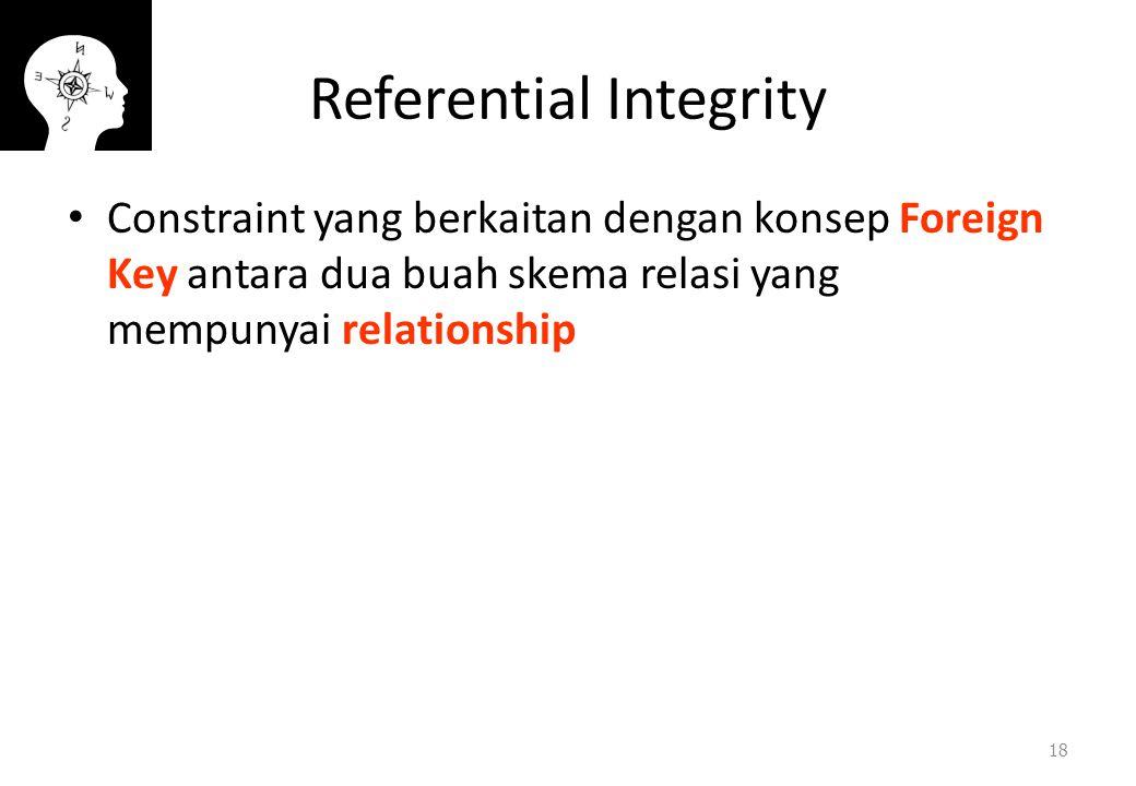 Referential Integrity Constraint yang berkaitan dengan konsep Foreign Key antara dua buah skema relasi yang mempunyai relationship 18