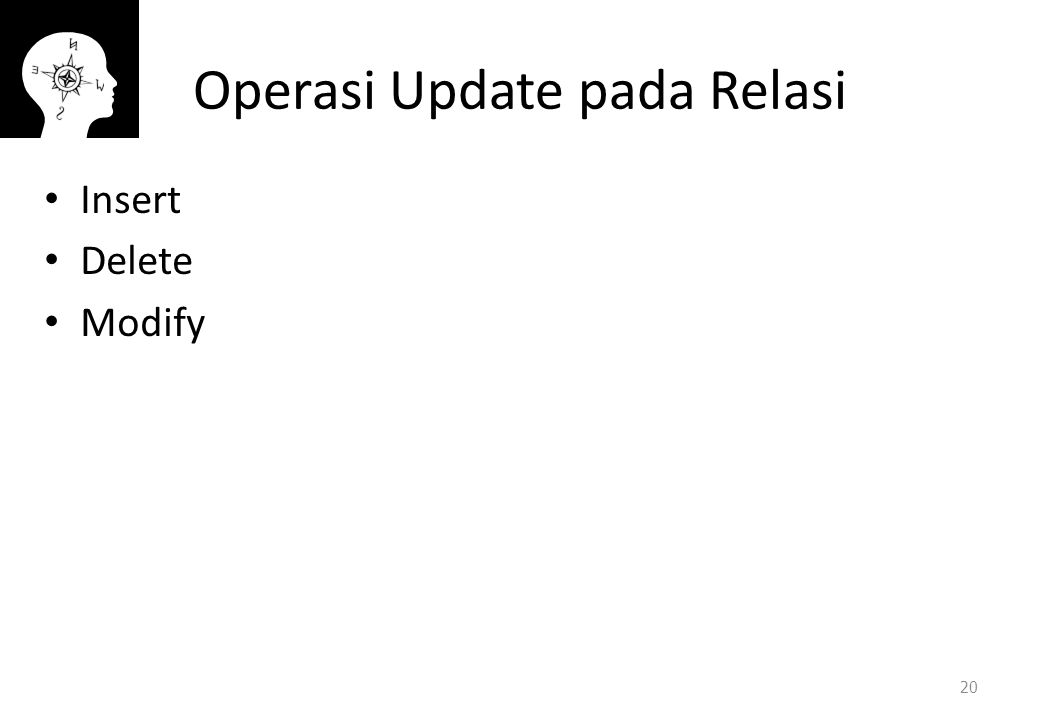 Operasi Update pada Relasi Insert Delete Modify 20