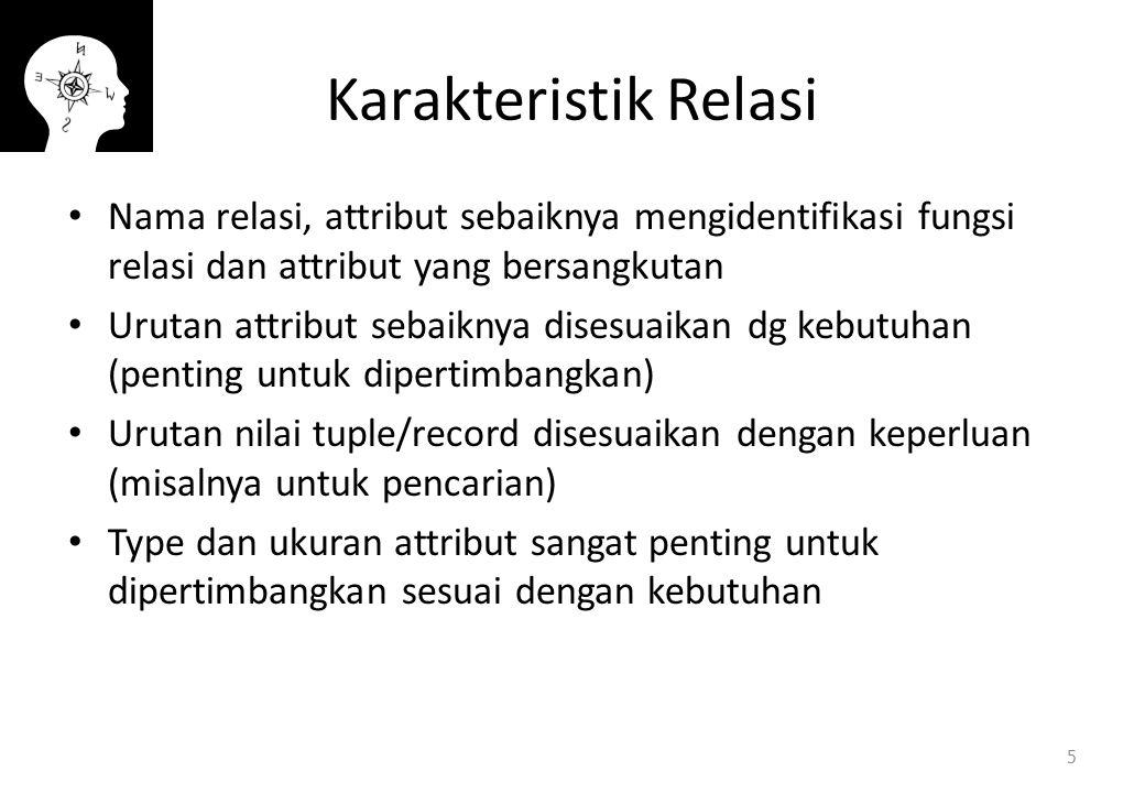Karakteristik Relasi Nama relasi, attribut sebaiknya mengidentifikasi fungsi relasi dan attribut yang bersangkutan Urutan attribut sebaiknya disesuaik